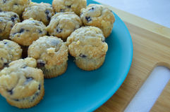 Plate of mini blueberry muffins. Stock Image