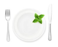 Plate with mint leaf Royalty Free Stock Image