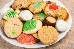 Plate of mixed baked cookies or biscuits Royalty Free Stock Photography