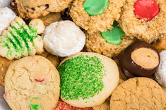 Plate of mixed baked cookies or biscuits Stock Images
