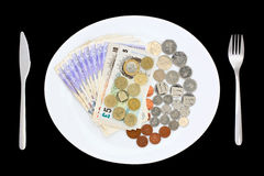 Plate of Money Royalty Free Stock Images