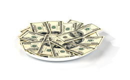 Plate with Money Royalty Free Stock Photos