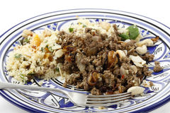 Plate of Moroccan style mince and couscous Royalty Free Stock Photo