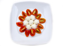 Plate with mozzarella and tomato seen from above Royalty Free Stock Photography