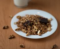 Muesli with walnuts and chocolate with yoghurt stock images