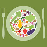 Plate with multicolored vegetables Royalty Free Stock Photo