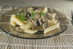 Plate of mushroom pasta Royalty Free Stock Photography