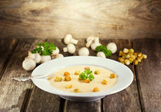 Plate of mushroom soup Stock Images