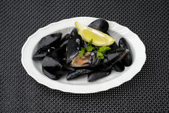 Plate of mussels Stock Photos