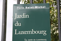Plate with name of Luxemburg Garden in Paris. France Stock Images