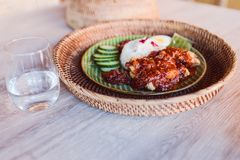 A plate of Nasi lemak in Malaysian restaurant stock image