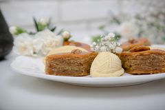 A plate with national pakhlava and shekarbura. As Novruz symbol stock photography
