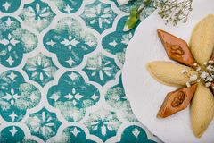 A plate with national pakhlava and shekarbura. As Novruz symbol stock image