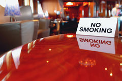 Plate no smoking and table in cafe. Smoking bans (or smoke-free laws) are public policies, including criminal laws and occupational safety and health regulations Stock Photography