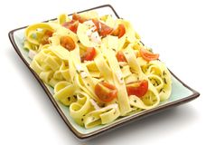 Plate noodle with tomato Stock Image