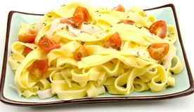 Plate noodle with tomato Stock Photo