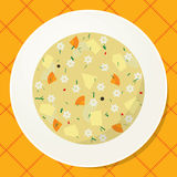 Plate with noodle and vegetable soup on the table. View from above. Vector illustration Stock Photography