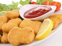Plate of nuggets Royalty Free Stock Photography