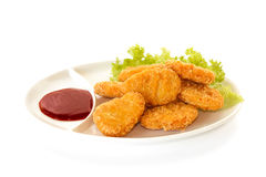 Plate of nuggets with dip sauce Royalty Free Stock Photos