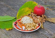 Plate with nuts. Salt and bread with leafs and red apple Royalty Free Stock Photos