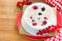 Plate of  oat flakes with berries Royalty Free Stock Images