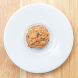 Plate of oatmeal cookie ready to be served for afternoon tea. Royalty Free Stock Images
