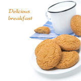 Plate of oatmeal cookies and mug of milk isolated, close-up Stock Photography