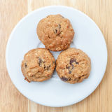 Plate of oatmeal cookies ready to be served for afternoon tea. Stock Photography