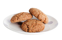 Plate with oatmeal cookies Royalty Free Stock Images