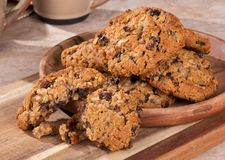 Plate of Oatmeal Pecan Raisin Cookies Stock Image
