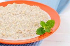 Plate of oatmeal porridge Stock Photography