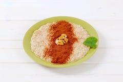 Plate of oatmeal porridge Stock Photo
