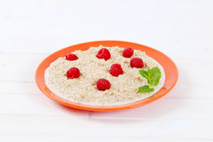 Plate of oatmeal porridge Stock Photography