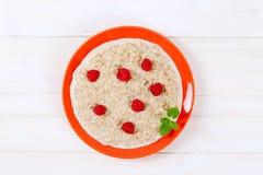 Plate of oatmeal porridge Stock Photos