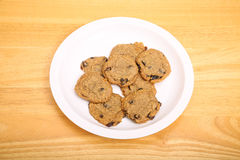 Plate of Oatmeal Raisin Cookies Stock Images