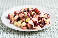 Plate of octopus salad with potatoes, on vintage background royalty free stock image