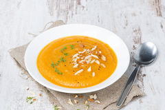 Plate Of Carrot Soup With Almonds And Watercress Royalty Free Stock Image