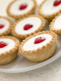 Plate Of Cherry Bakewell Tarts Royalty Free Stock Photography
