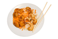 Plate Of Chinese Food On White Stock Image