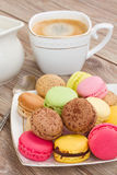 Plate Of Macaroons With Coffee Royalty Free Stock Image