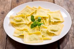 Free Plate Of Ravioli With Basil Royalty Free Stock Photo - 107310065