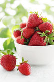Plate Of Strawberries Stock Image