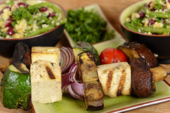 Plate Of Vegan Grilled Vegetables With Tofu Stock Photography