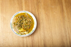 A plate of Ofe Oha soup. A Nigerian Igbo dish with Okazi leaf Royalty Free Stock Photography