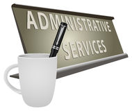 Plate Office For Administrative Services Stock Photo