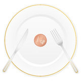 Plate and one euro cent. Dish with cutlery and 1 euro cent coin Royalty Free Stock Images