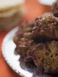 Plate of Onion Bhajis Royalty Free Stock Image