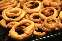 Plate with onion rings stock images
