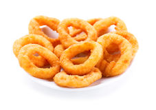 Plate of onion rings Stock Photos