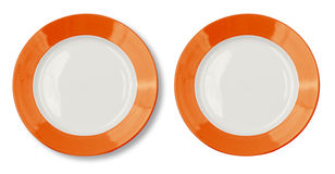 Plate with orange border with clipping path Stock Images